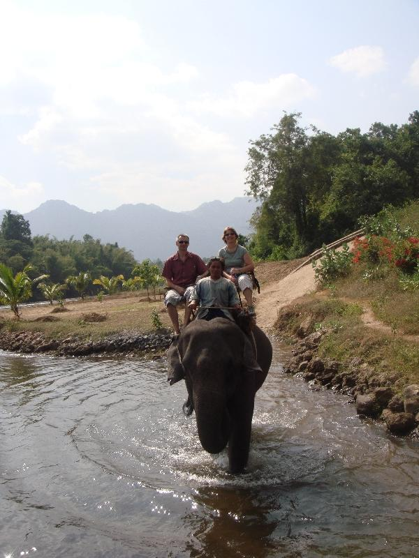 Elephant ride through the water, Thailand