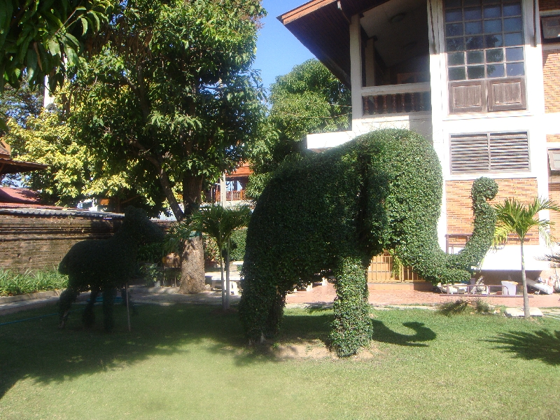 Garden elephant sculptures in Ayutthaya, Thailand