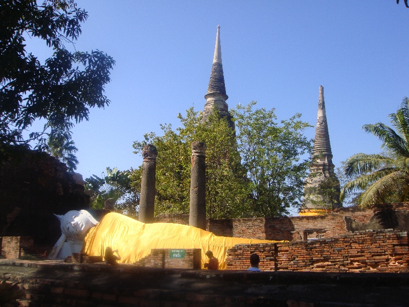 The reclining Buddha covered in silk, Ayutthaya Thailand