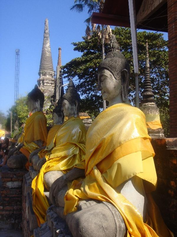 Amazing buddha statues covered in silk, Ayutthaya Thailand