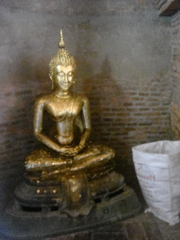 The golden Buddha in the Chedi, Ayutthaya Thailand