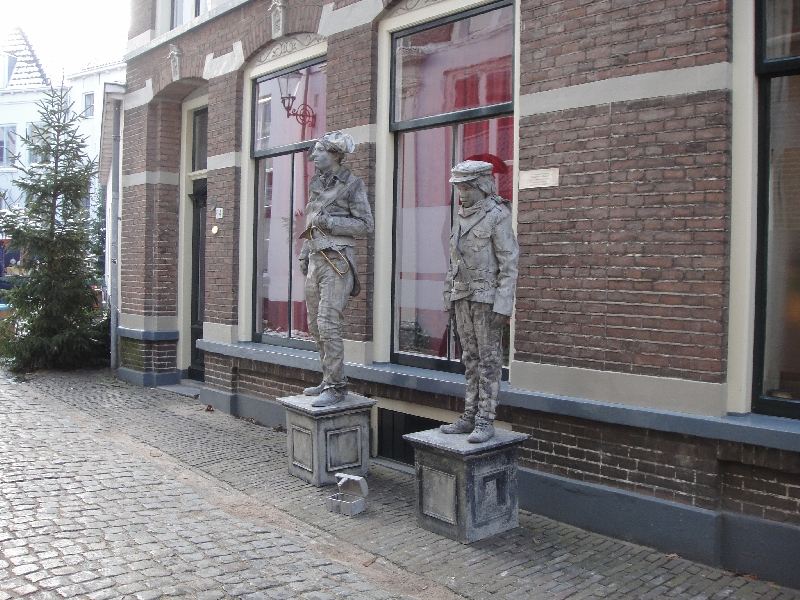Soldier statues in the Bergstraat Deventer Netherlands Europe