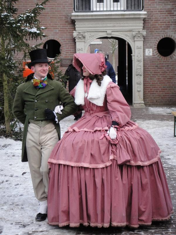 Medieval dresses in the snow, Deventer Netherlands