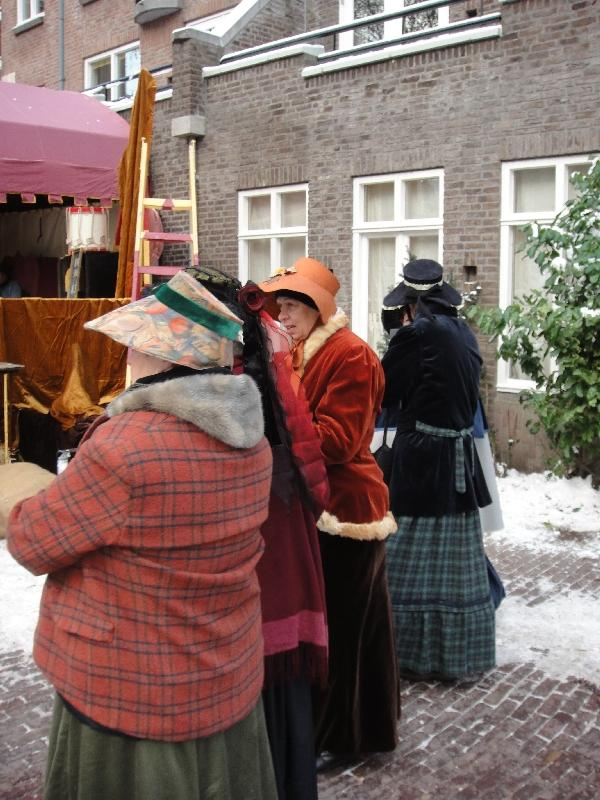 Actresses chatting up in the cold, Deventer Netherlands