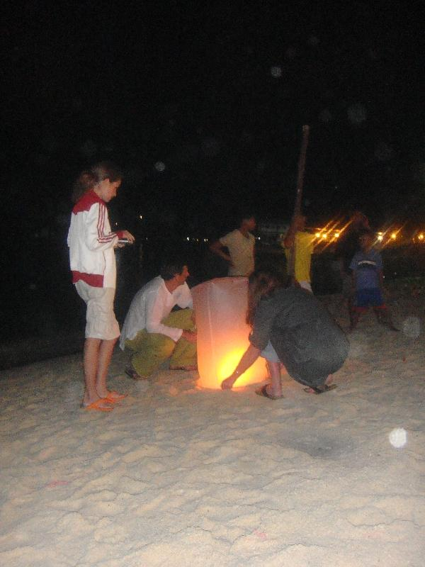 Buying a lantern on Ko Phi PHi, Thailand