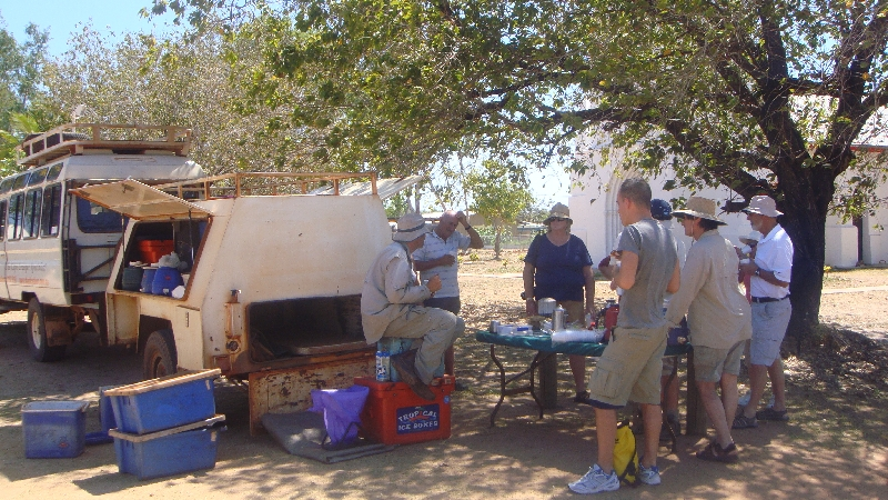 Morning tea and biscuits in Beagle Bay, Cape Leveque Australia
