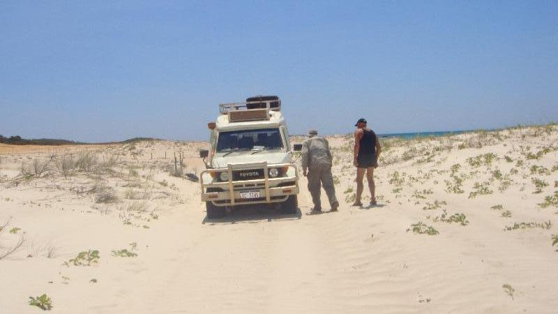 Car stuck in the sand dunes, Australia