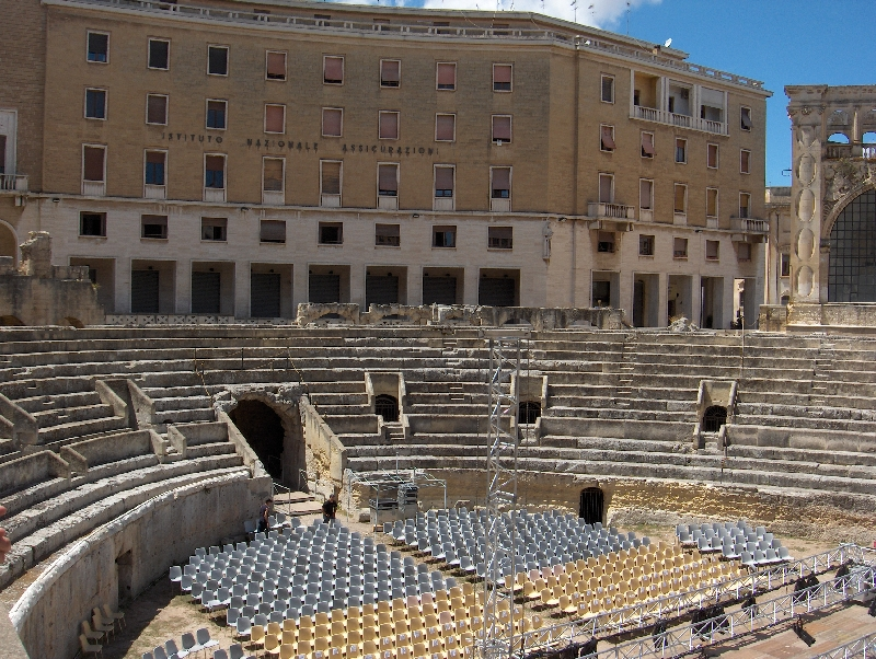 The old Roman Amphitheatre in Lecce, Italy