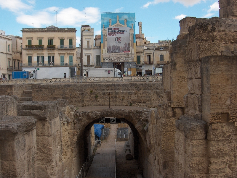 The half buried Amphitheatre in Lecce, Italy