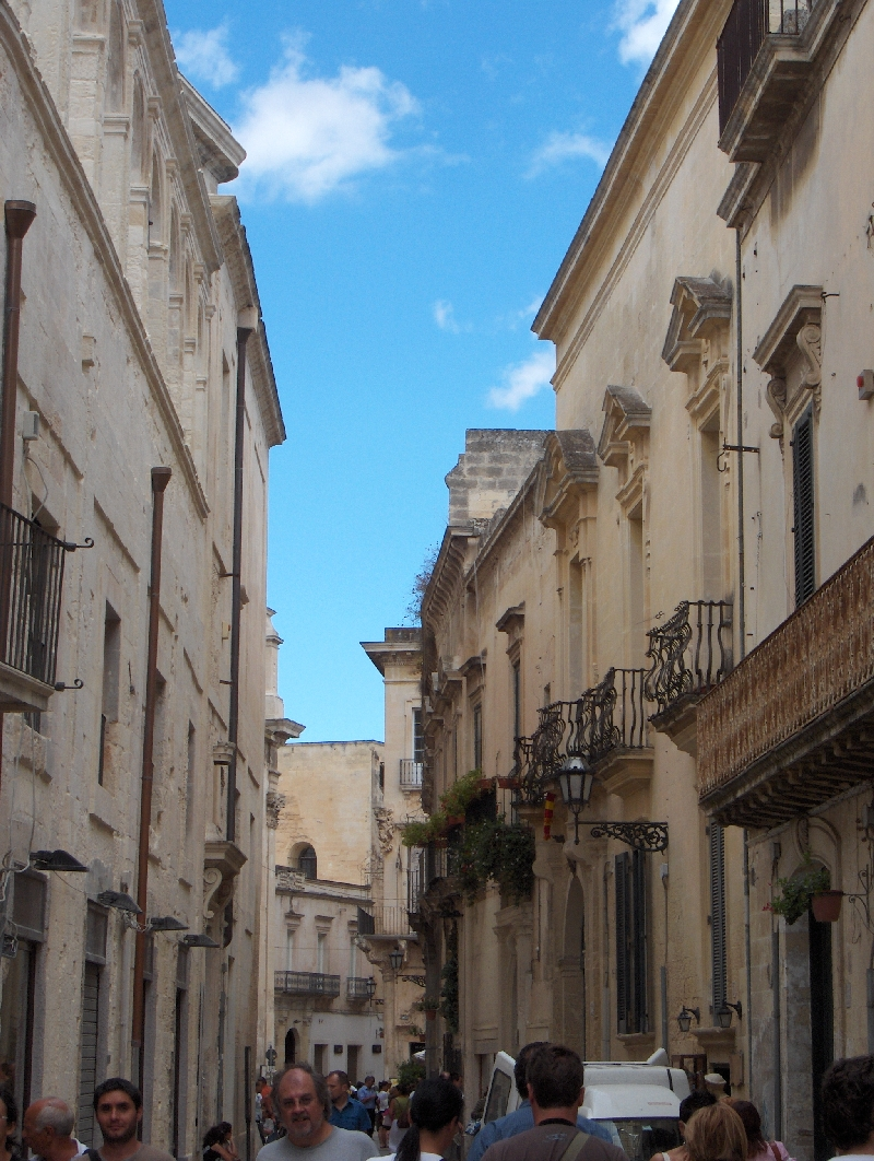 Tourists in the streets of Lecce, Italy