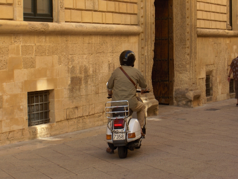 Lecce Italy Local making his way through the centre