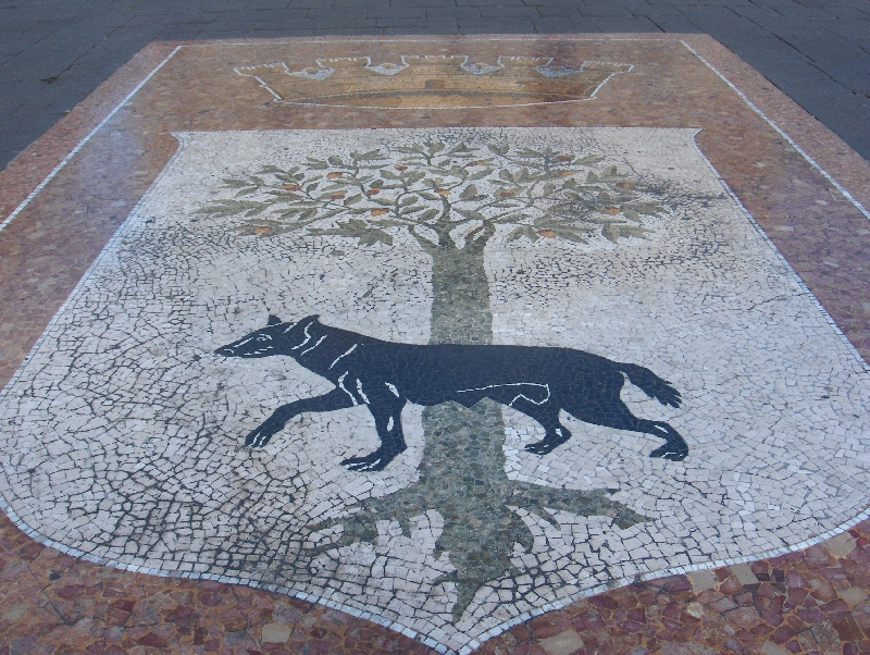 The logo of Lecce on main square, Lecce Italy