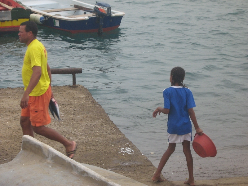 Families at the fishing town on Espargos, Cape Verde