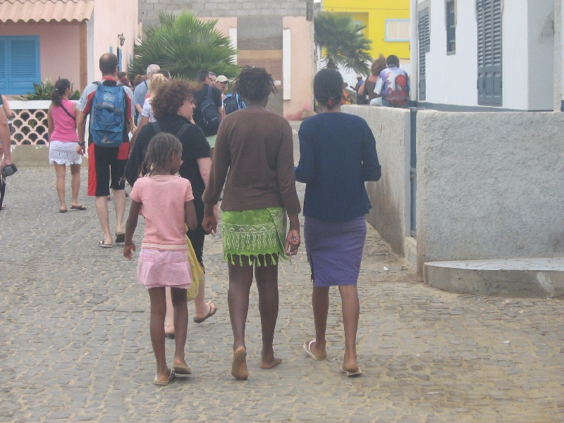 Locals and tourists in Espargos, Cape Verde