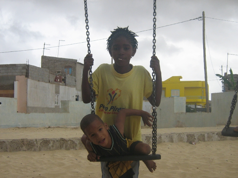 Cape Verdian kids playing around, Espargos Cape Verde