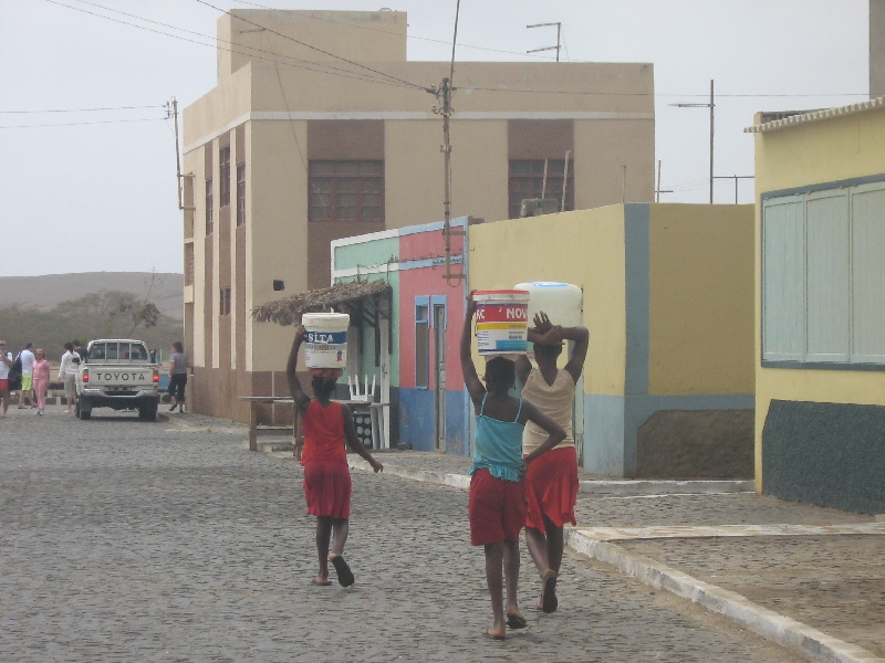Local girls carrying water, Cape Verde