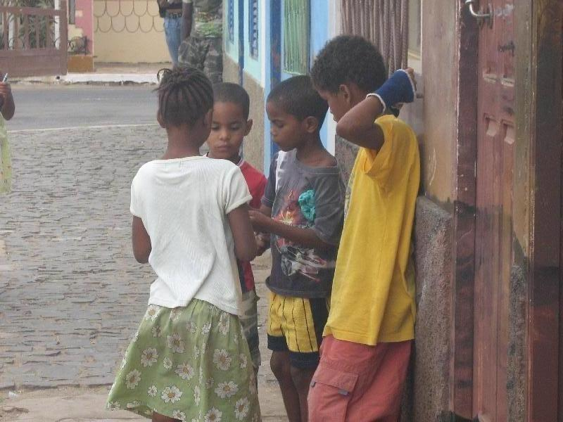 Cape Verdian kids asking for pencils, Cape Verde
