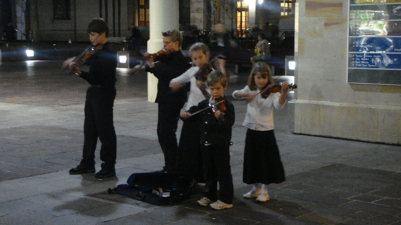 Kids playing music on Hay st, Australia