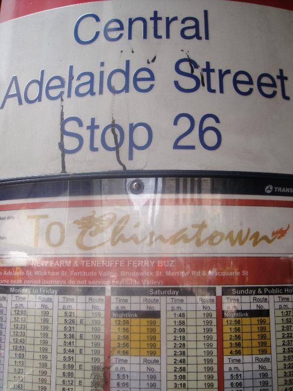 Bus stop on Adelaide St in Brisbane, Australia