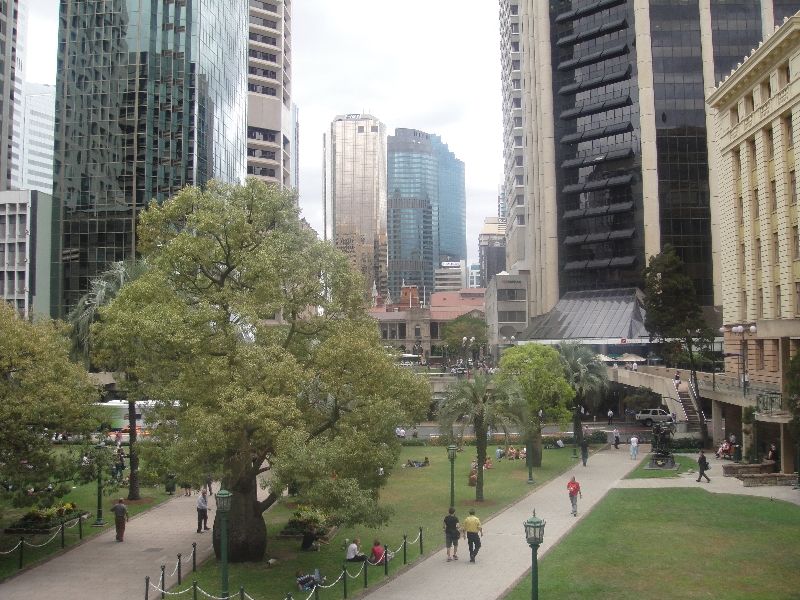 Looking down on Anzac Square, Brisbane Australia