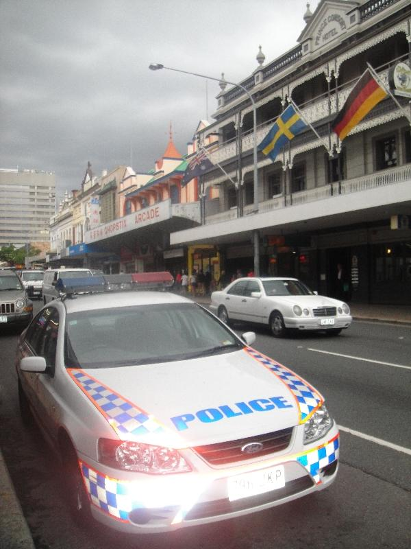 Police car in Chinatown, Brisbane, Australia