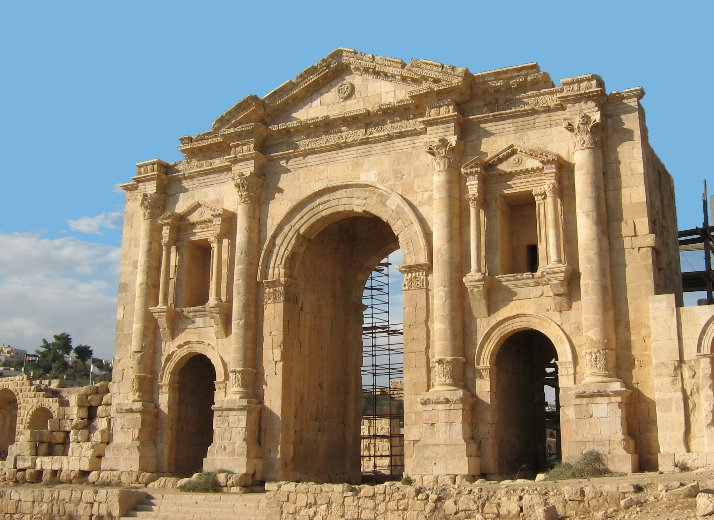 The ancient Arch of Hadrian in Jerash, Jordan
