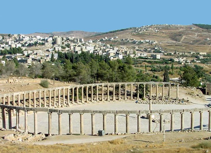 The old and new city of Jerash, Jordan