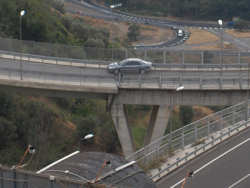 Parked car on Catanzaro Bridge, Italy