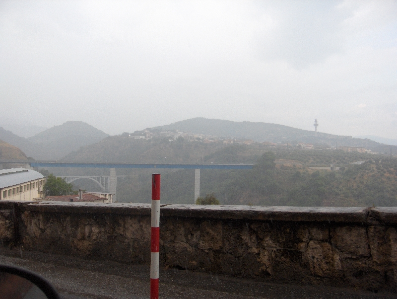 A misty day on the Catanzaro Bridge, Catanzaro Italy