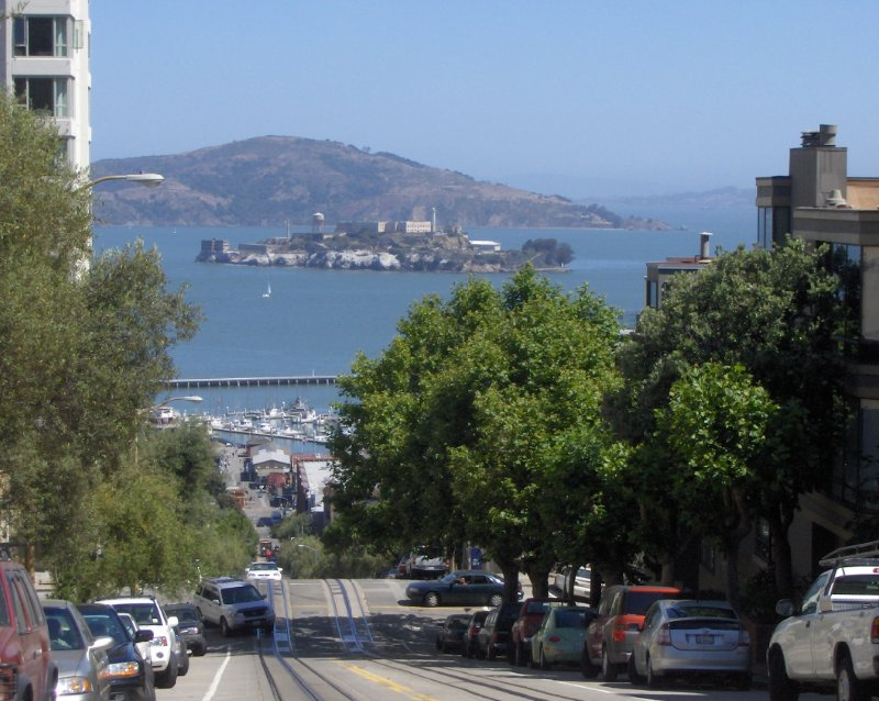 Alcatraz from San Francisco hills, United States
