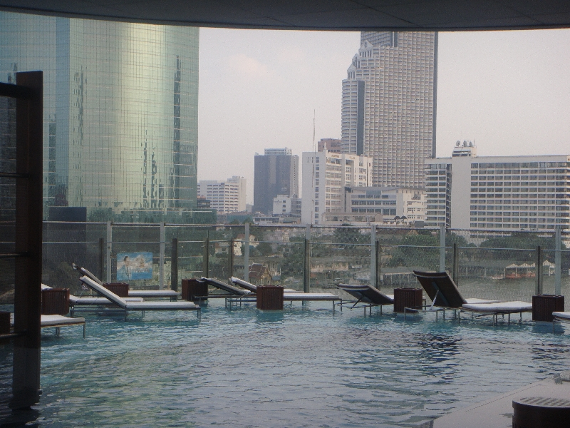The rooftop pool at our Thai hotel, Bangkok Thailand