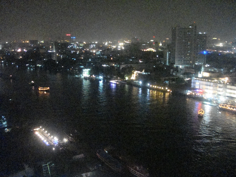 Hotel room view at night, Bangkok Thailand