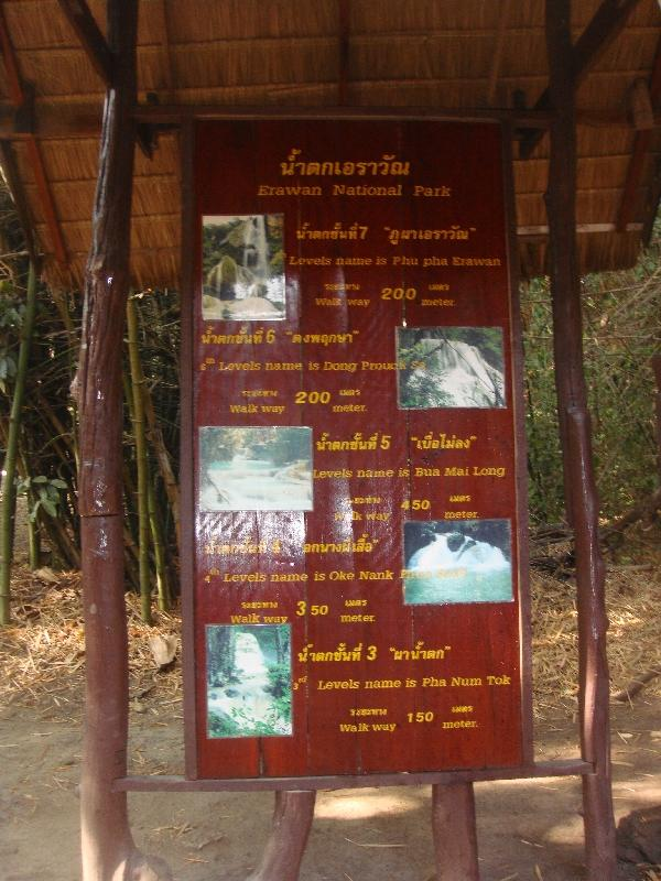 The tiers are named and indicated on signs, Kanchanaburi Thailand