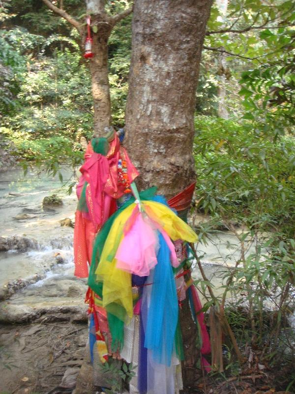 Local tree offerings at the Erawan Falls, Thailand