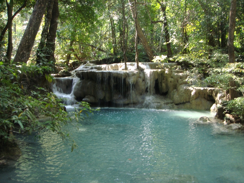 The blue waters of Erawan, Kanchanaburi Thailand