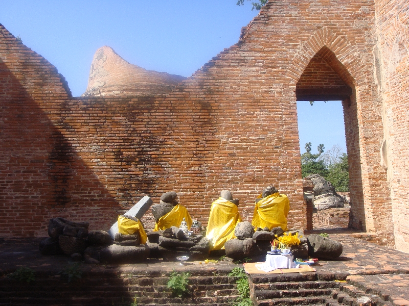 The Buddhist remains of Wat Gudidao, Ayutthaya Thailand