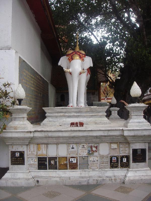 White elephant shrine , Thailand