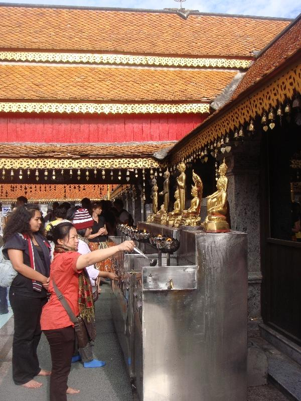 Offerings at Wat Doi Suthep, Chiang Mai Thailand
