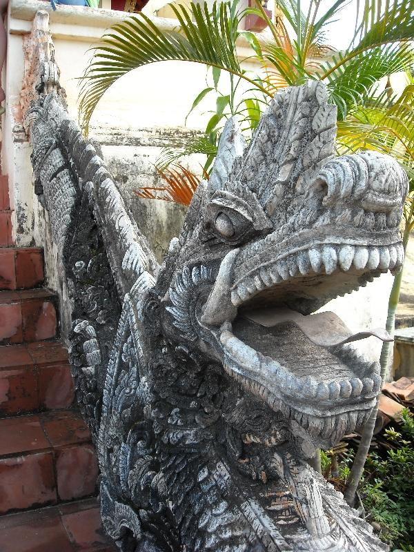The dragon heads at Wat Luang, Vientiane Laos