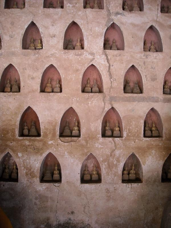 The Buddha statues inside the wall, Laos
