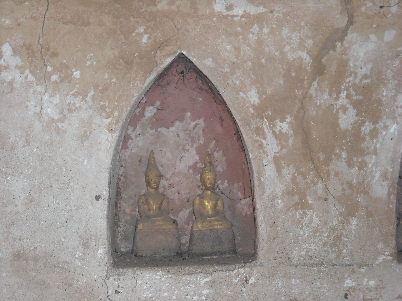 Two little shrines at Wat Si Saket, Vientiane Laos