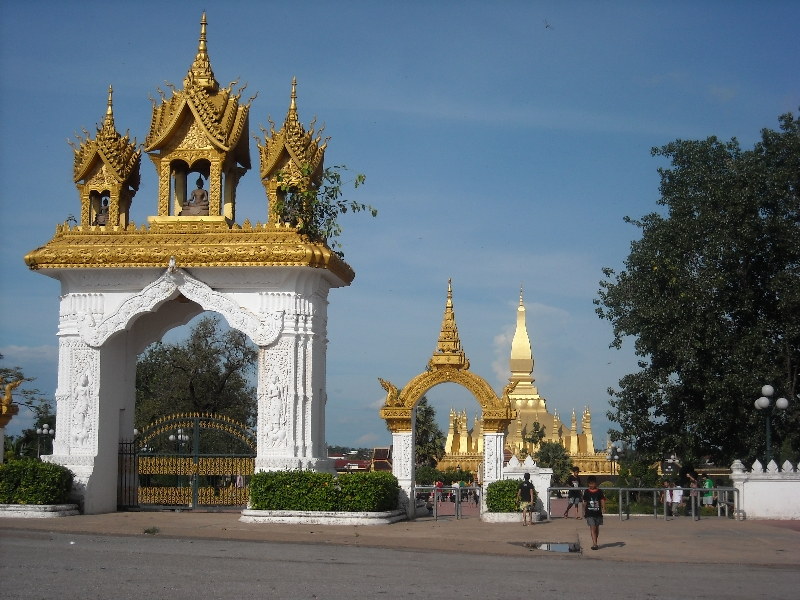 The gates to Wat Pha That Luang, Laos