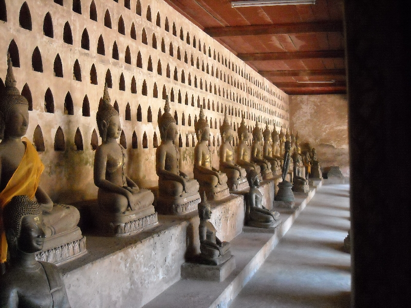 Numerous Buddhist statues in Vientiane, Laos