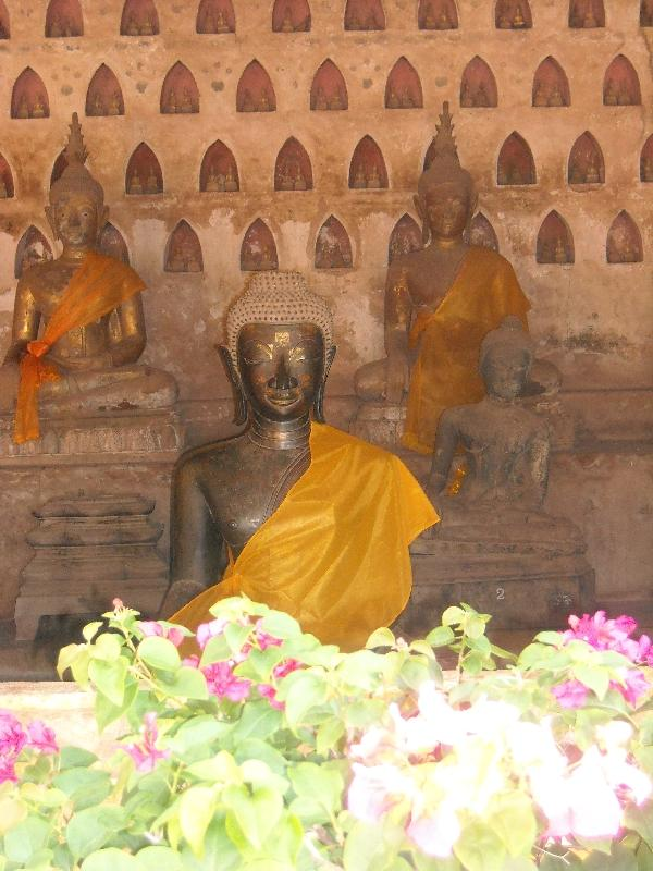 Silk draped Buddha statues, Laos