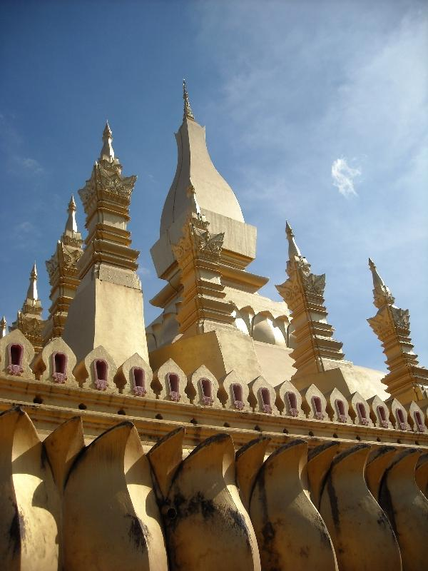 The golden layer of Wat That Luang, Vientiane Laos