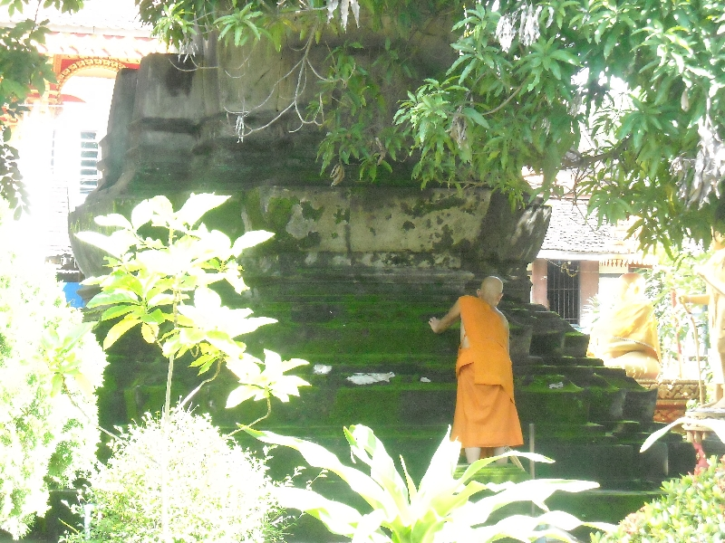 Monk in the gardens of Wat Si Saket, Vientiane Laos