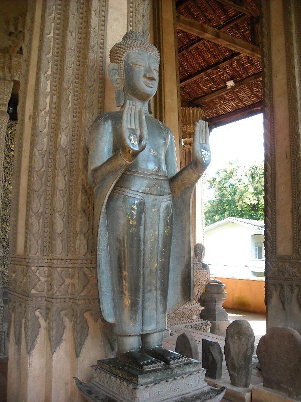 Standing Buddha statue in Vientiane, Laos