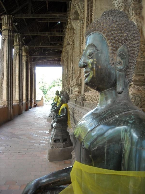 Lined up statues in Vientiane, Laos