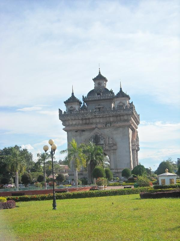 Pictures of the Patuxay Monument Vientiane Laos Asia