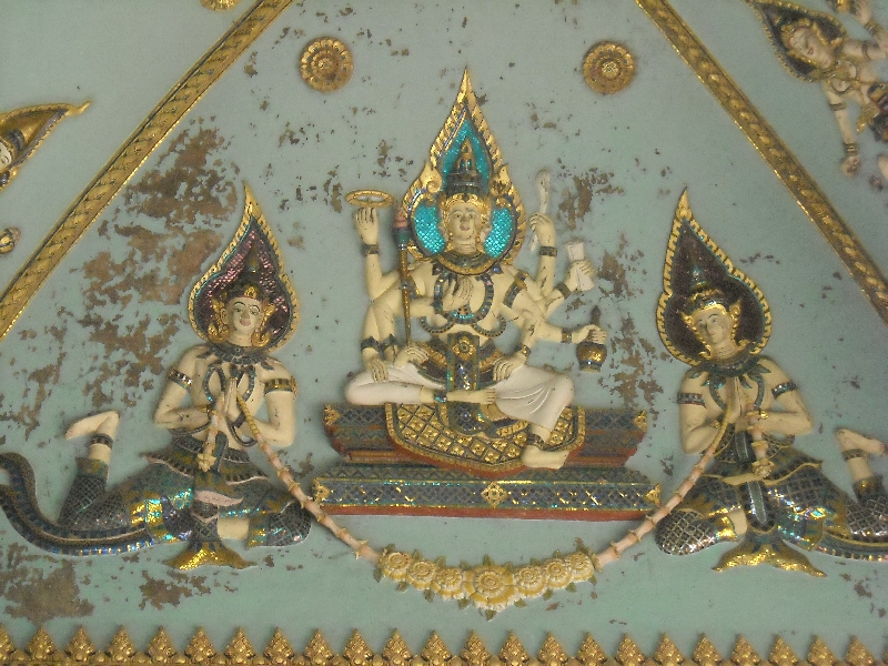 Kinnari figurines painted on the ceiling, Laos